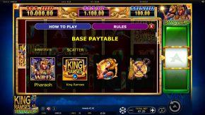 King Ramses Triple Shot Paytable