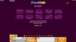 Prime Zone Slot Bet Lines
