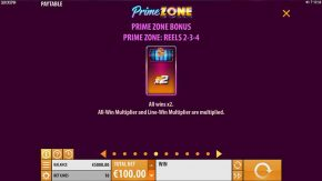 Prime Zone Slot Paytable Bonus