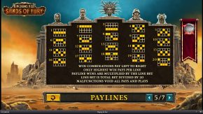 Kingdoms Rise Sands of Fury Paylines rules
