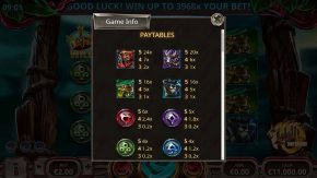 Liliths Inferno Paytables rules