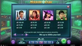 Mission Cash game payouts