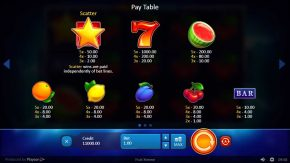 Fruit Xtreme rules pay table