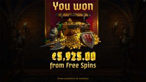Arthurs Fortune Free Spins Total Win